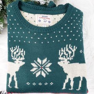 MERRY CHRISTMAS V-28  Reindeer Sweater Green White